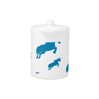 fantasy unicorns magical pattern white and blue teapot