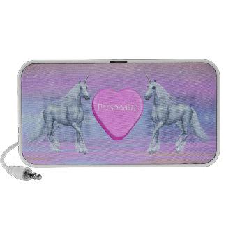 Fantasy Unicorns & Pink Heart Personalized Speaker