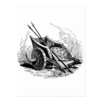 fantasy warrior chariot postcard