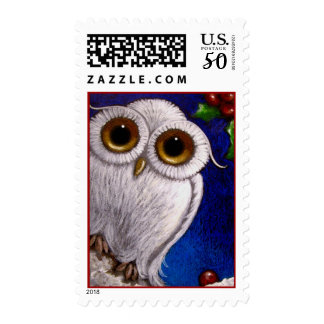 FANTASY WHITE BABY SNOWY OWL HOLIDAY Postage