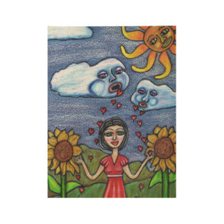 Fantasy White Clouds Faces Raining Hearts On Lady Wood Poster