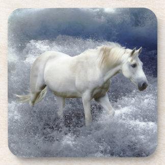 Fantasy White Horse & Ocean Surf Art  Coasters