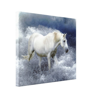 Fantasy White Horse & Ocean Surf Art Print Gallery Wrapped Canvas