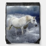 Fantasy White Horse & Ocean Surf Artwork Drawstring Backpacks