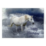 Fantasy White Horse & Ocean Surf Birthday Card
