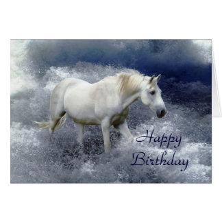 Fantasy White Horse & Ocean Surf Birthday Card