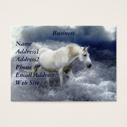 Fantasy White Horse & Ocean Surf Business Card