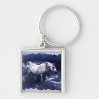 Fantasy White Horse & Ocean Surf Gifts Key Chain