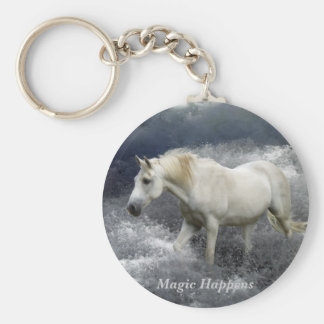 Fantasy White Horse & Ocean Surf Gifts Key Chains