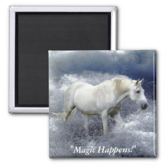 Fantasy White Horse & Ocean Surf  Gifts Magnet