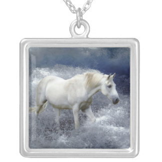 Fantasy White Horse & Ocean Surf Necklace
