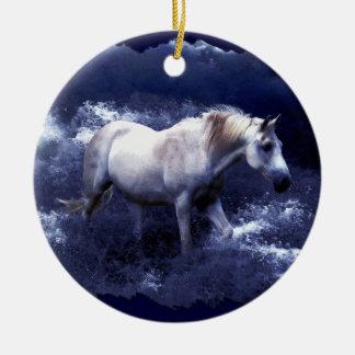 Fantasy White Horse & Ocean Surf Ornament