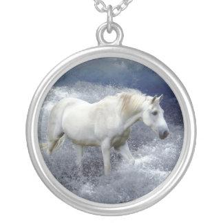 Fantasy White Horse & Ocean Surf Pendant Necklace