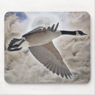 Fantasy Wildlife Art Flying Canada Goose Mousepad