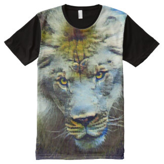 Fantasy Wildlife Jungle Lion Collage Acrylic Paint All-Over-Print T-Shirt