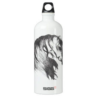 Fantasy wind blown horse aluminum water bottle