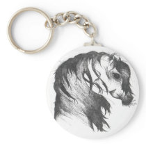 Fantasy wind blown horse keychain