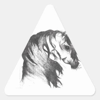 Fantasy wind blown horse triangle sticker