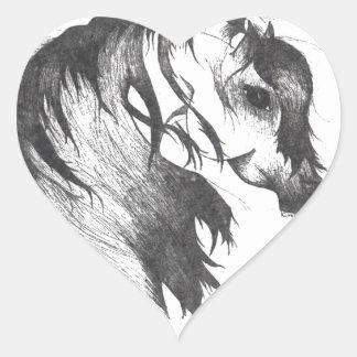 Fantasy wind blown horse heart sticker