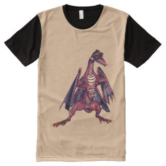 Fantasy Winged Dragon All-Over Printed Panel Tee