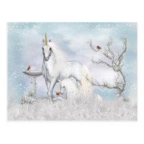 Fantasy Winter Unicorn And Foal Postcard