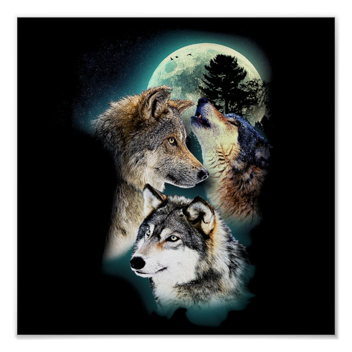 Moon Mountain Landscape Wall Art Large Poster /& Canvas Pictures Fantasy Wolf