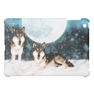 fantasy wolf , wolves in the snow art iPad mini cover