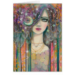 Fantasy Woman Bohemian Gypsy Colorful Abstract Art Greeting Card