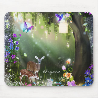 Fantasy woodland forest animals enchanted mouse pad