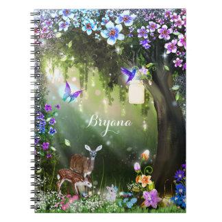 Fantasy woodland forest animals enchanted notebook