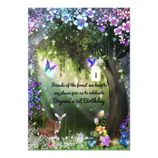 Fantasy woodland forest animals enchanted party card