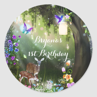 Fantasy woodland forest animals enchanted party classic round sticker