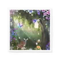 Fantasy woodland forest animals enchanted party napkin