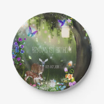 Fantasy woodland forest animals enchanted party paper plate