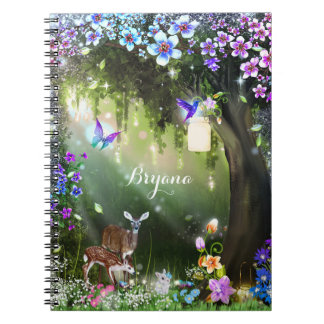 Fantasy woodland forest animals enchanted spiral notebook