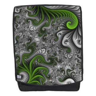 Fantasy World Green And Gray Abstract Fractal Art Backpack