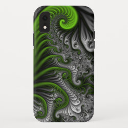 Fantasy World Green And Gray Abstract Fractal Art iPhone XR Case