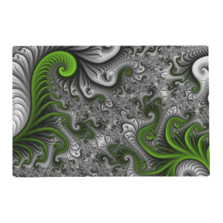 Fantasy World Green And Gray Abstract Fractal Art Placemat