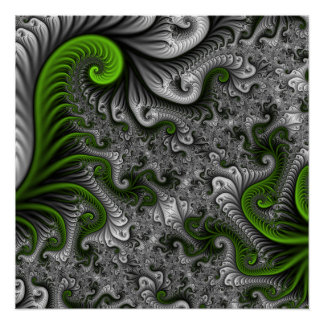 Fantasy World Green And Gray Abstract Fractal Art Poster