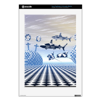 Fantasy World Sharks Cross Black and White Balls Decal For The PS3