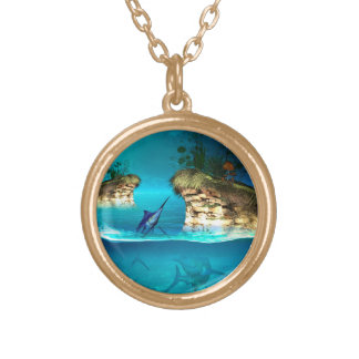 Fantasy world with marlin round pendant necklace