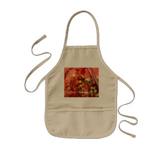 Fantasy world with skull mushrooms in the sunset kids' apron