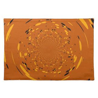 Fantasy Yellow, Black Dots Abstract Retro Art Deco Placemat