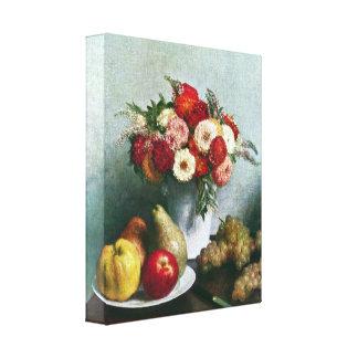 Fantin-Latour - Aún-vida con las flores y la fruta Lona Envuelta Para Galerias