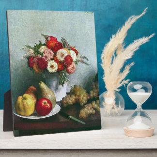Fantin-Latour Enrique - Aún-vida con las flores y Placa