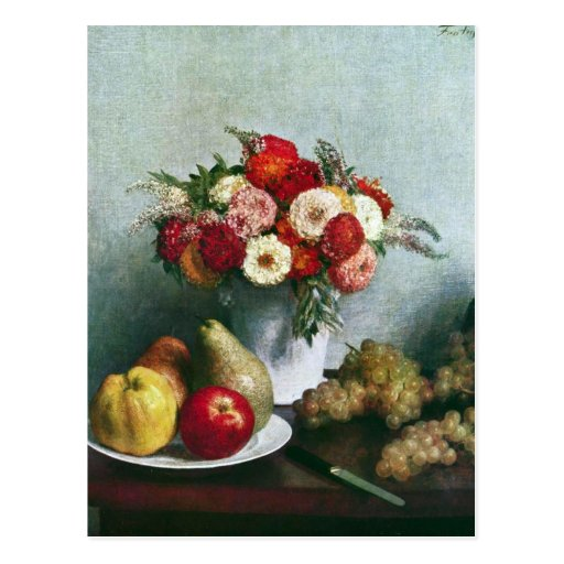 Fantin-Latour Henri - Still-life with flowers and Postcard