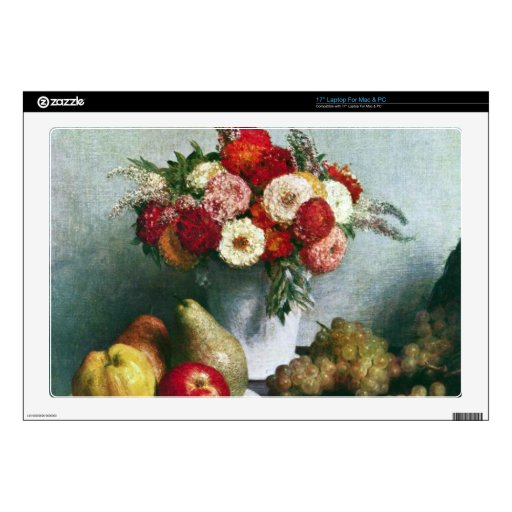 Fantin-Latour Henri - Still-life with flowers and Skin For Laptop