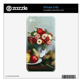 Fantin-Latour Henri - Still-life with flowers and Skin For iPhone 4