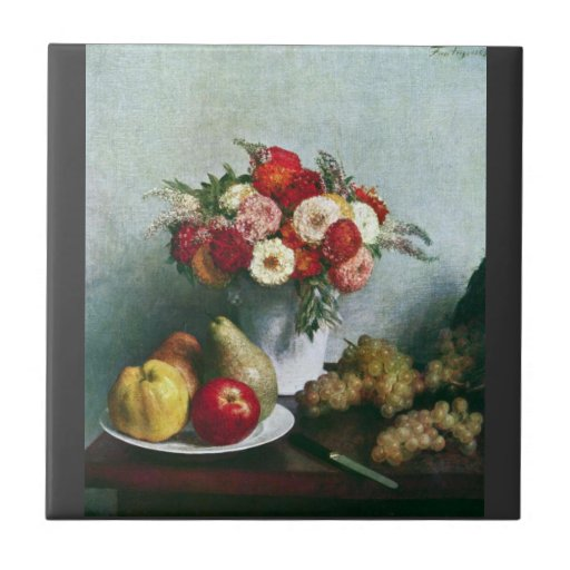 Fantin-Latour Henri - Still-life with flowers and Ceramic Tiles
