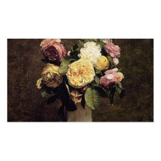 Fantin-Latour-Rosas de Enrique en un florero blanc Tarjetas De Visita